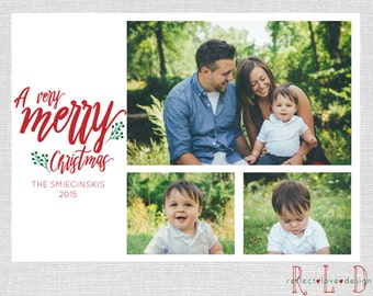 A Very Merry Christmas Holiday Card With 3 Photos Digital Printable File