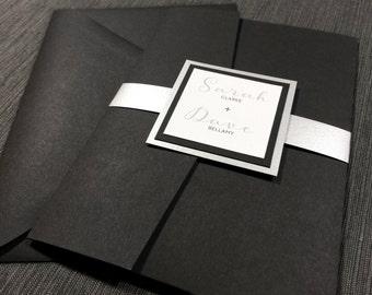 Black Belly Band Wedding Invitations, Silver Wedding, Calligraphy Wedding Invitations, Silver metallic Classic Invitations, Pocket Fold