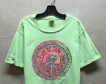 vintage cropped t, crop top, 80s, Fun n Sun, Beach , surf, faded, pale, lime green, heather, jumper, crop tee, surf , skate, 80s
