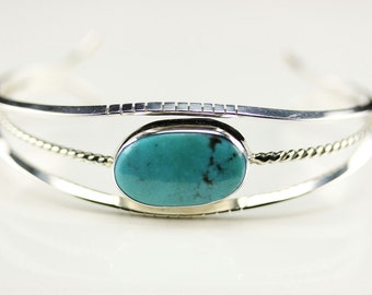 Native American Navajo Sterling Silver Turquoise Cuff Bracelet By Henry Yazzie