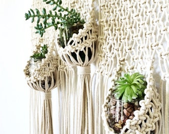 Macrame Hanging Planter Triple Pouch Wall Hanging | Modern Macrame Wall Hanging | Macrame Hanger | Macrame Succulent Planter | Boho Decor