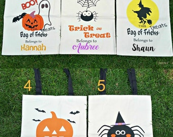 Trick or Treat Bags - Halloween Sacks - Halloween Bag - Trick O Treat Tote- Personalized Halloween Sack - Reusable Halloween Bag - Halloween