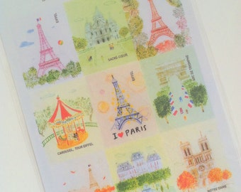 Paris Stamp Stickers 2 Sheets