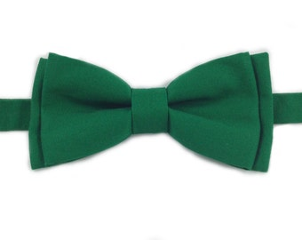 Emerald Green Bow Tie, Self Tie Bow Tie, Pre-Tied Bow Tie, Green Solid Color Pocket Square also Available
