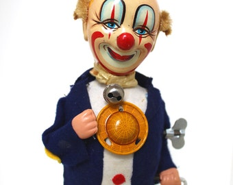 Vintage Litho Tin Toy - Smiling Sam the Carnival Man Clown Wind Up Mechanical Toy Bobble Head