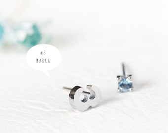 Number 3 Earrings 925 Sterling Silver March Birthstone Aquamarine Tiny Stud Earrings Jewelry