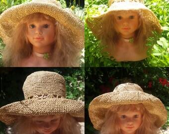 Superb hat crochet natural raffia-type hood