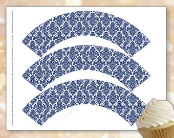 Navy cupcake wrappers (INSTANT DOWNLOAD) - Wedding cupcake wrappers - Damask cupcake wrappers - Cupcake wrappers printable DK