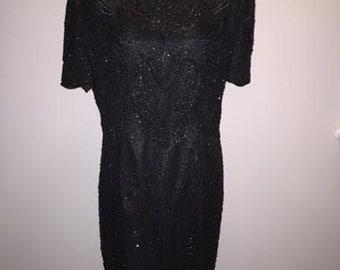 Vintage 80s Beaded Dress / size 16 / by AP Ltd