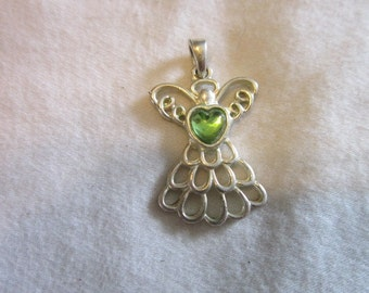 Vintage Silver Tone Stylized Angel with Heart Pendant - August Birthstone
