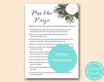 Pass the Prize, Pass the Parcel Game, Poem, White Flower Bridal Shower Game, White Floral, Bachelorette BS437 BS460
