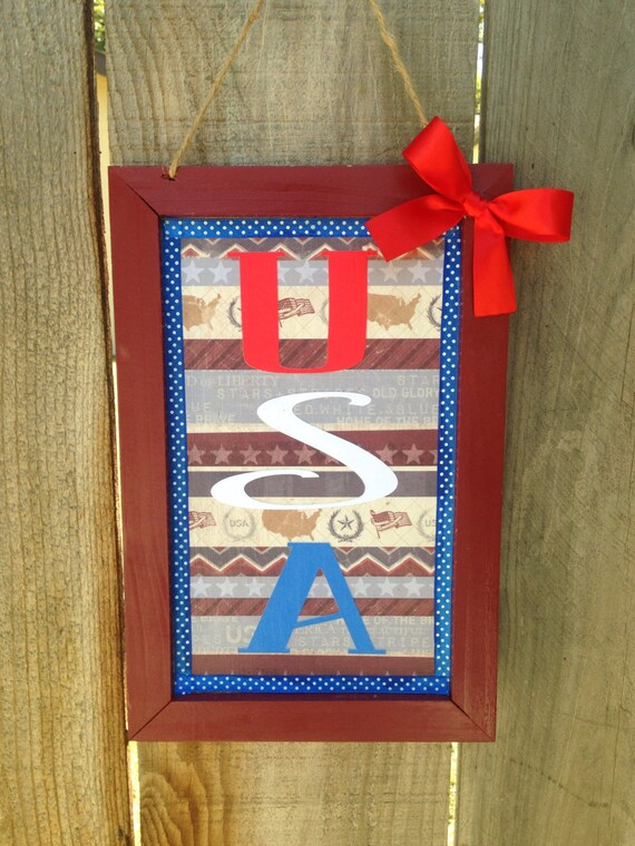 Usa Wooden Sign Patriotic Americana Wall Decor By