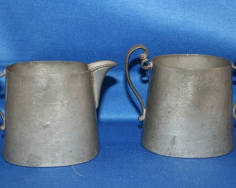 Antique Queen City Silver Co Pewter Creamer & Sugar Bowl Circa 1888 to 1910