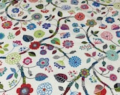 Tablecloth with colorful wild Flowers,  blue pink red green flowers, Scandinavian design