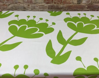 Tablecloth white with large green flowers,modern tablecloth, Scandinavian design