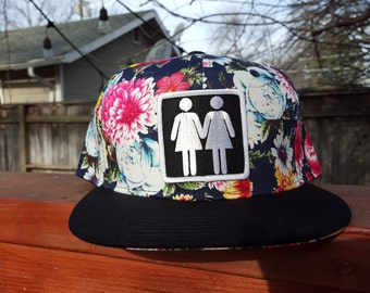 Black/Dark Navy Floral Snapback Hat Hand Holdin' Ladies