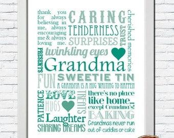 Personalised Bespoke Grandma Grandmother Nanny Nan Nana Memory Words Typography Word Art Print GIFT