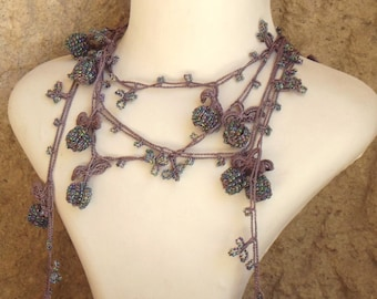 Turkish OYA Lace - Lariat necklace - Berry - Light purple