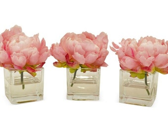Set of 3 Pink Peonies in Cubes, Faux