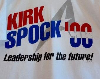1996 T Shirt -Kirk Spock Leadership for the Future 1996 T-Shirt-Star Trek-Election Memorabilia-Trekkies-Campaign Shirt
