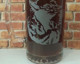 Star Wars Beer Mug - Star Wars Etched Mug - Etched Glassware - Yoda Etched Mug - Personalized Star Wars Mug- Etched Beer Mug or Stein