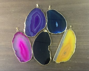 Wholesale Agate Slice Pendant Free form Agate Pendant Gold plated Pink/Yellow/Blue/Purple/Black Agate wholesale Pendant Gemstone pendant