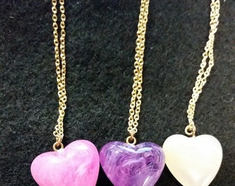 Pastel Resin Heart Necklace