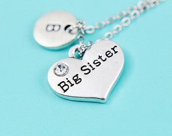 Big Sister Pendant Charm Necklace, Heart Necklace, Personalized Family Jewelry, Initial Necklace, Big Sister Charm