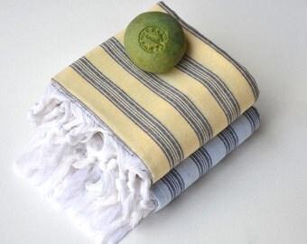 TURKISH TOWEL set - PESHTEMAL  Hammam Towel Beach Towel  Thin and Light  Fouta  Guest Towel  Spa Pool  Gift Idea Gray blue - Black - Yellow