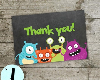 birthday thank you card, monsters thank you card, monster thank you card, birthday party thank you card