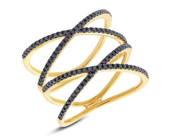 Unique Intricate Womens 14K Yellow Gold Black Diamond Double X Statement XX Middle Finger Ring