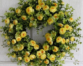 Summer Wreath, Yellow Ranunculus Wreath, Floral Wreath, Door Wreath, Centerpiece