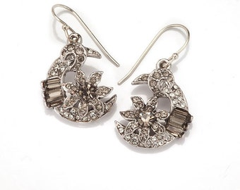 Silver Crystal Half Moon Earrings
