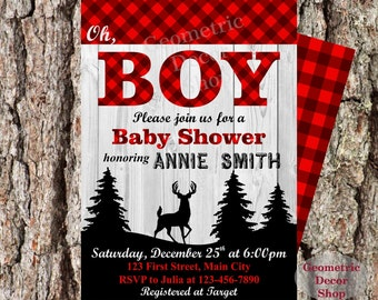 Lumberjack Baby Shower Party Invite Wilderness Red Plaid Lumber Jack Invitation Rustic Buffalo Plaid Woodland Digital Printable #BYLJ3