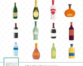 Liquor clipart, bar clipart, Vector graphics,  booze clipart, drink clipart, Digital Images - CL 048