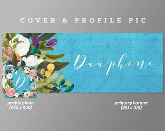 Timeline Cover + Profile Picture 'Dauphine' Cover, Profile Picture, Branding, Web Banner, Blog Header | blue, floral cover image