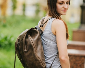 Leather backpack by Kruk Garage Woman backpack Ladies backpack Women's daily pack Brown leather backpack Small backpack Women's gift