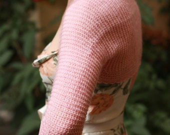 Soft pink bridal bolero / wedding shrug / knitted wedding bolero / lace bolero / lace wedding bolero