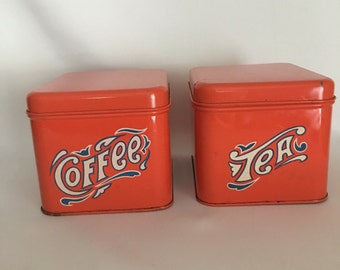 Vintage, Retro Cheinco Coffee and Tea Metal Tin Canisters, Vintage Advertsing, Vintage Kitchen