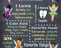 Custom Tinkerbell Inspired Birthday Chalkboard DIGITAL