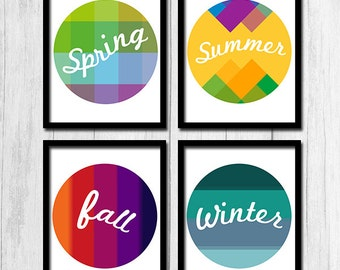 Four Seasons Print Digital Download Four Seasons Art Spring Print Seasonal Home Decor Winter Fall Summer Print Four Seasons Art Printable
