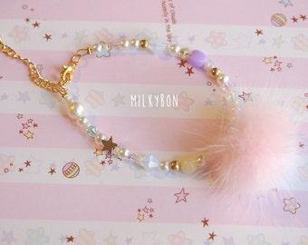 Cute Fluffy Pom Pom Bracelet (thin - pink)