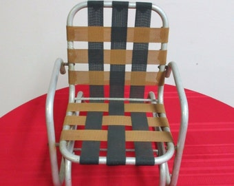 Vintage Mid Century Childu0027s Aluminum Glider Porch Patio Chair