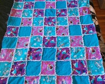 Custom Rag Quilt - Baby Blanket - Crib Bedding - Girls Blanket - Room Decor - Princess Blanket - Patchwork Quilt - Handmade Quilt - Frozen