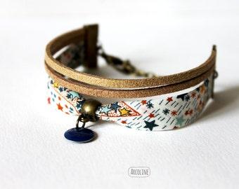 Bracelet liberty suede golden stars