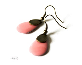 Earring enameled Sequin pink