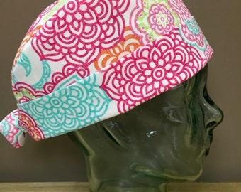 Tropical Sorbet Coloured Flowers Surgical Scrub Cap, Beautiful Women's Aqua, Pink & Orange Pixie Scrub Hat, Custom Caps Company