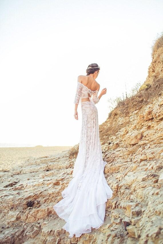 Items similar to romantic bohemian wedding dress in french for Romantic bohemian wedding dresses