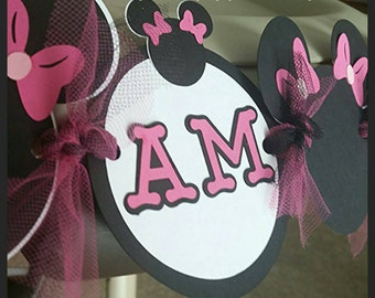 "Minnie Mouse Inspired  ""I AM ONE"" Highchair Banner, Age High Chair Banner, First Birthday Banner"