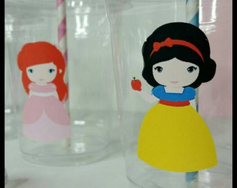 12 Princess Inspired  party Cups, Princess Party Cups